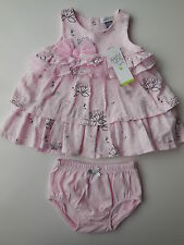 Beautiful Petit Lem baby girl dress + nappy cover pink swans size 1 Fits 12 mths