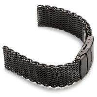 22mm Matte Black Shark Mesh Stainless Steel Watch Band Strap fits Seiko