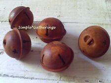 "Lot of 5 - 38mm Primitive Rusty Jingle Bells - 1 1/2"" Crafts Christmas Rustic"