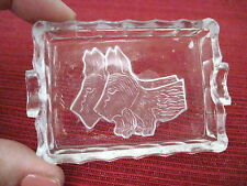 Vintage Little Glass Ashtray With Two Scotty Dogs Cut Into It *