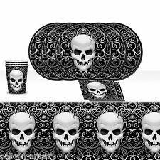 Halloween Fright Night Gothic Skull Terror Complete Party Tableware Pack For 8