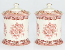 NEW Set of 2 Porcelain Red Rose Canister cookie biscuit coffee tea storage Jar