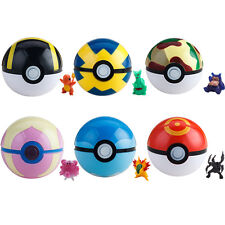 6pcs Pokeball Plastic Cosplay Pop-up Poke Ultra Ball Game Toys & Pokemon Figures