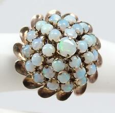 Antique 14K Yellow Gold & Opal Cluster Dome Cocktail Ring Size 5