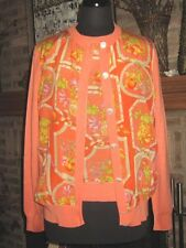 SALVATORE FERRAGAMO PEACH FLOWER FRUIT SILK WOOL SIGNATURE SWEATER TWIN SET  L