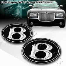 For 05-10 Chrysler 300 300C Hood Grille Grill + Trunk Black VIP B Emblem Badge