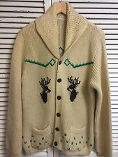 Vintage Hand Knit Cowichan Shawl Collar Cardigan Sweater Deer Motif Made USA M