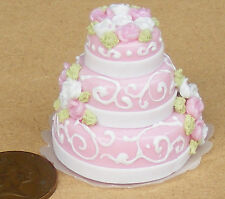 1:12 Scale Pink & White 3 Tier Wedding Cake Dolls House Miniature Accessory L