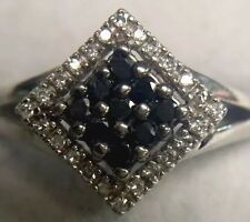 14K SOLID WHITE GOLD BLACK AND WHITE GENUINE DIAMOND SQUARE CLUSTER RING SZ:7.25