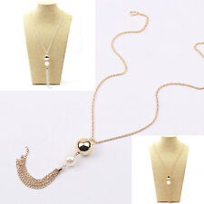 Women Girl's Tassel Pearls Necklace Fashion Statement Long Chain Jewelry hot