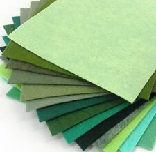 "15 - 6""X6""  Green Colors Collection - Merino Wool blend Felt Sheets"
