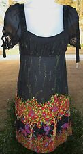 Anthropologie Free People Butterfly Forest Tree BabyDoll Dress Viscose Silk XS