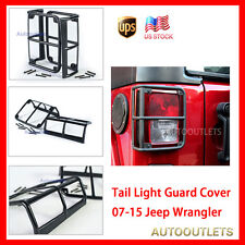 Black Wrap-Around Tail Light Guards Rear Lamp Cover For 07-15 Jeep Wrangler JK