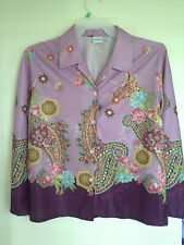 HABAND FOR HER GORGEOUS COLORFUL PAISLEY BLOUSE SZ L EXCELLENT CONDITION
