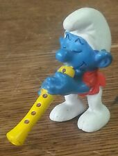 VINTAGE 1978 SMURFS SCHLEICH PEYO SMURF PLAYING A FLUTE OBOE Made in Hong Kong