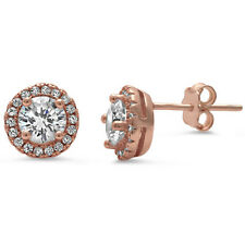Rose Gold Plated Cz Stud .925 Sterling Silver Earrings