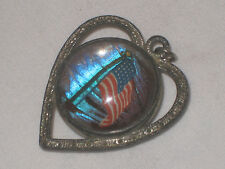 Antique Rare Double Sided Butterfly Wing Tropical Scene/US Flag Heart Pendant