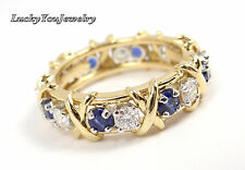 $8.7K Tiffany Schlumberger Gold Platinum Diamond Blue Sapphires Ring Sz 5 papers