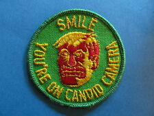 Vintage 70's Biker Vest Hat Hippie Jacket Patch Smile You're On Candid Camera