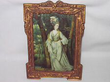 ANTIQUE VICTORIAN WOOD GESSO PICTURE FRAME & PRINT 7.5x5 LADY IN FOREST ORIG FAM