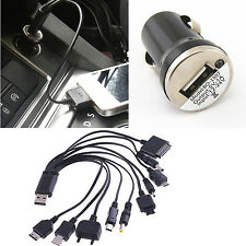 Auto Car Cigarette Lighter USB Charger + Multi Ports Mobile Connector Data Cable