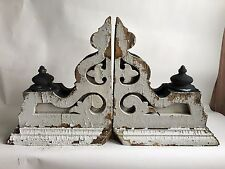 Antique Pair(2) 1890's Wood Corbels Brackets Gingerbread Victorian White Black