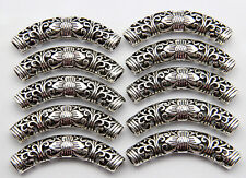10 pcs Tibetan silver Hollow out tubular Spacer bead 52x14 mm