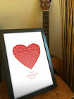 VALENTINES GIFT for Her | Personalised song lyrics gift HEART FRAMED | Our Song
