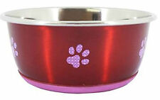 Cheeko Anti slip Stainless Steel Fusion Dog Bowl Cat Bowl, 2 colours,rubber base