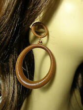 COIL HOOP EARRINGS RIBBED ASSORTED COLORS 3.75 IN L AND 2.5 IN WIDE PIERCED