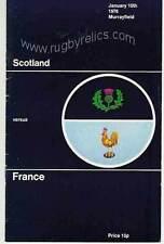 Escocia / Francia 1976 Firmado Rugby programa-Wilson Lauder-Con Certificado De Autenticidad