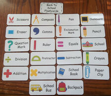 Back to School Flash Cards. Preschool flash cards.  Learn about school supplies