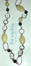 "NWT/NIB LIA SOPHIA 36-39"" STRAND NECKLACE - YELLOW-GREEN STONES/BLACK CRYSTALS"