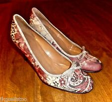JOAN & DAVID *STEPHANIE* CRANBERRY PAISLEY FABRIC & LEATHER PUMPS - LADIES 7M