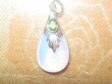 FACETED PERIDOT SEA OPAL 925 STERLING SILVER OPALITE PENDANT CHARM NECKLACE