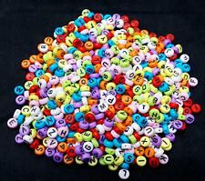 100pcs Colors Acrylic Individual Alphabet Letter Coin Round Flat Spacer Beads DS