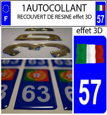 1 sticker plaque immatriculation auto DOMING 3D RESINE DRAPEAU ITALIE FLOTANT 57