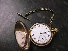 Gold Plated Full Hunter Pocket Watch on a Gold Plated Chain