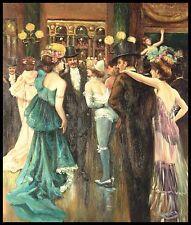 """24""""x20"""" pintura al óleo sobre lienzo, dentro del Moulin Rouge"""