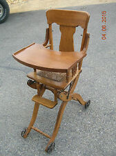 ANTIQUE PAT. DATED 1904  UP & DOWN  BABY'S  HIGH  CHAIR - WALKER - STROLLER