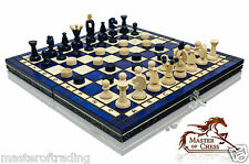 GREAT ''BLUE KINGDOM'' WOODEN CHESS AND DRAUGHTS SET!!! HAND CRAFTED 35x35cm!!!