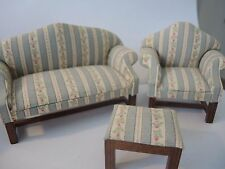 Dollhouse Miniature Living Room Furniture  Sofa/Cushions/Ottoman Set