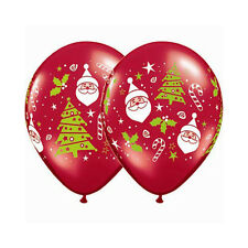 Party Decoration Christmas Santa & Tree Ruby Red Balloons Pack of 10