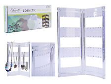 Folding earrings necklace jewellery organiser display stand 72 loops holder tidy