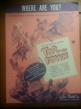 Top Of The Town 1936 Where Are You? Vintage Movie Sheet Music