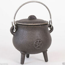 CAST IRON PENTAGRAM CAULDRON PAGAN WICCA CHARCOAL RESIN BURNER INCENSE SPELL