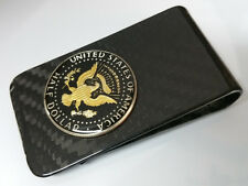 Carbon Geldklammer schwarz Money Clip Geldclip 1/2 Dollar Münze Kennedy color