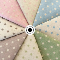 Shabby Medium Polka Dots on Natural Cotton Linen Fabric 45% Linen 55% Cotton