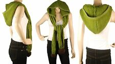 ConMiGo London SC120 Green Wool Scarf /Shawl with Hood