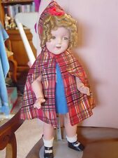 IDEAL VINTAGE COMPOSITION SHIRLEY TEMPLE DOLL W RARE DRESS & TARTAN HOODED CAPE!
